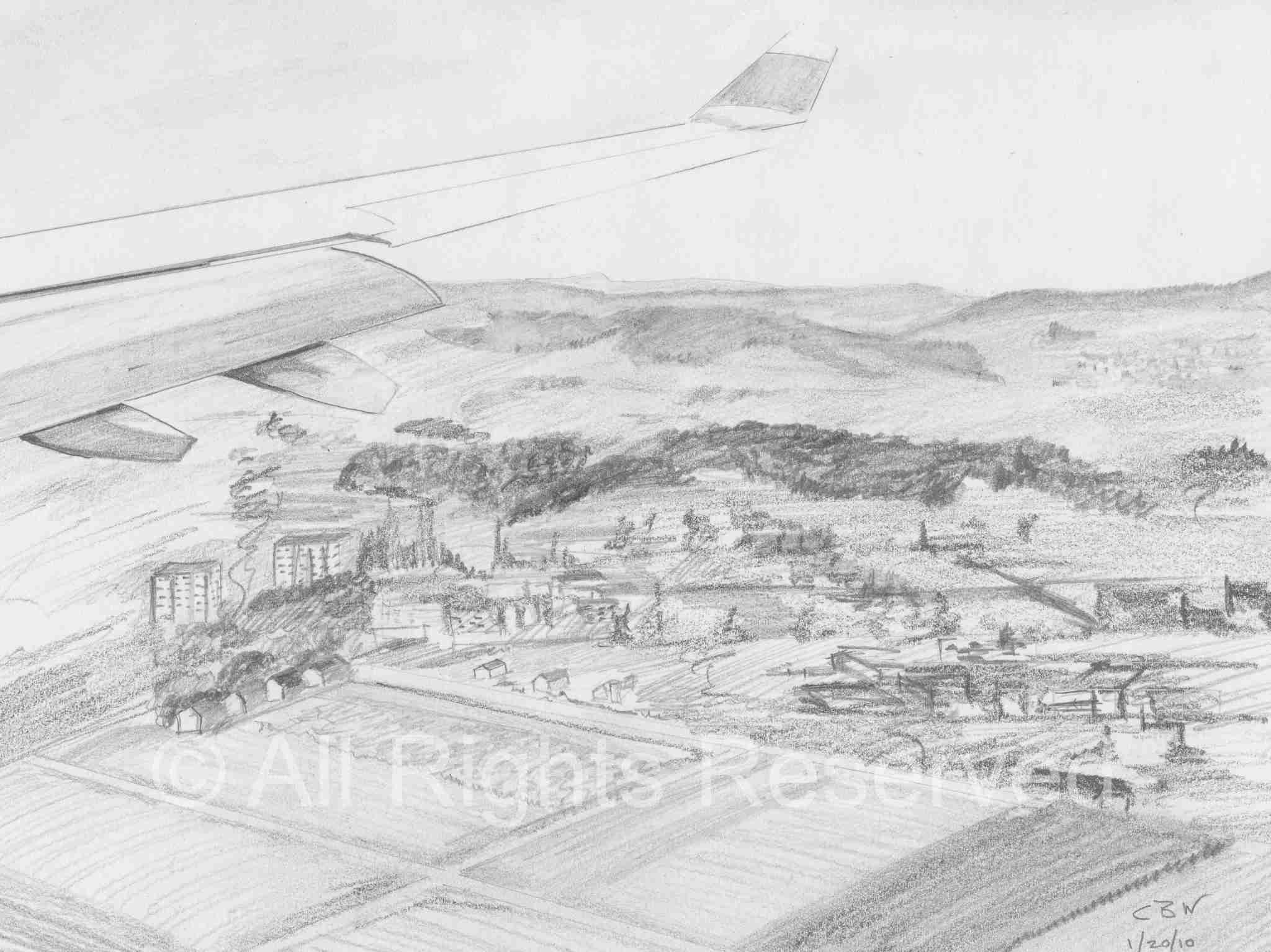 drawing of a view from an airplane window