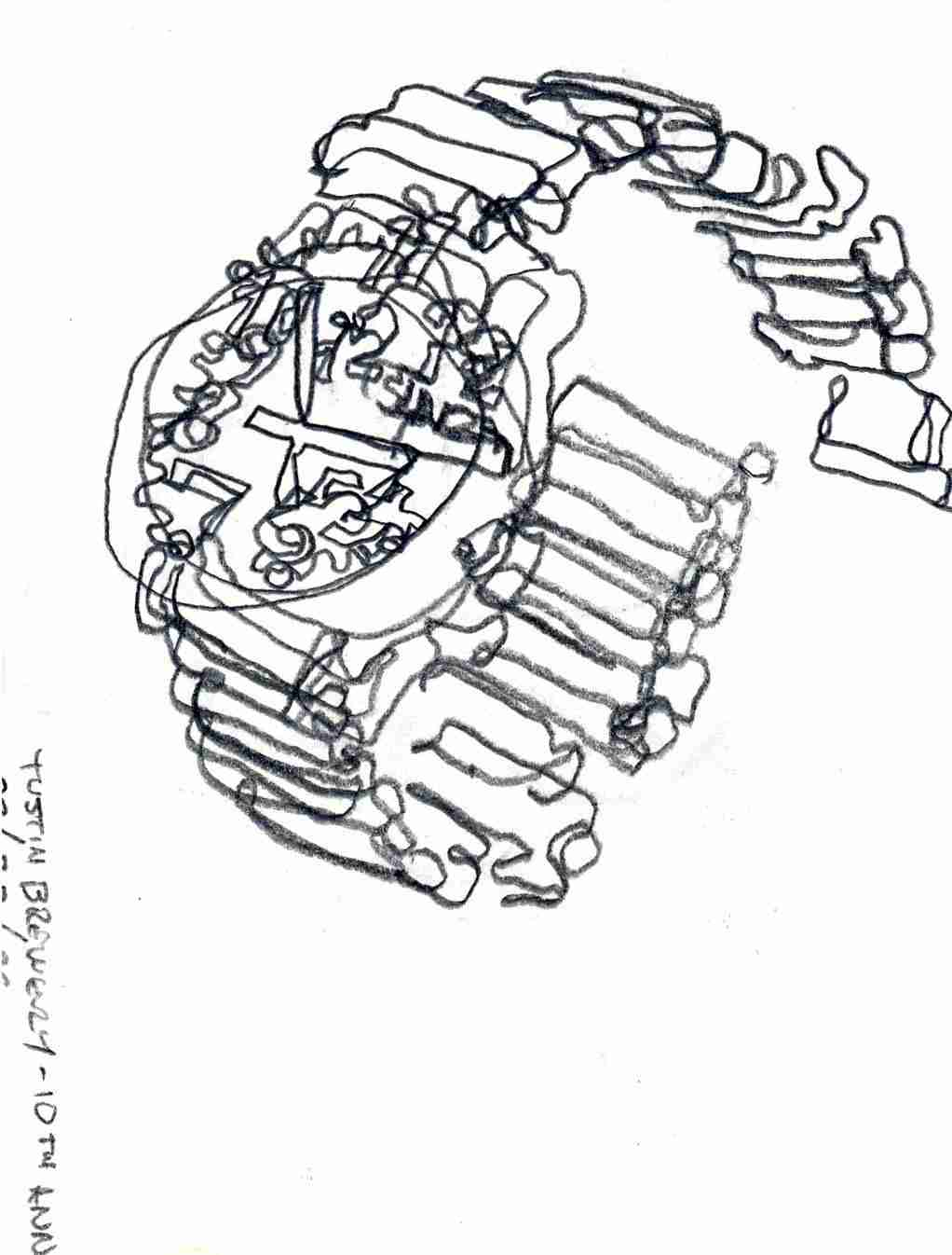 contour line drawing of a watch