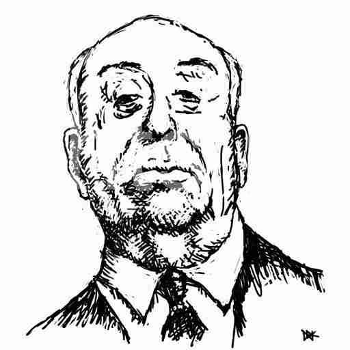 Drawing of Alfred Hitchcock