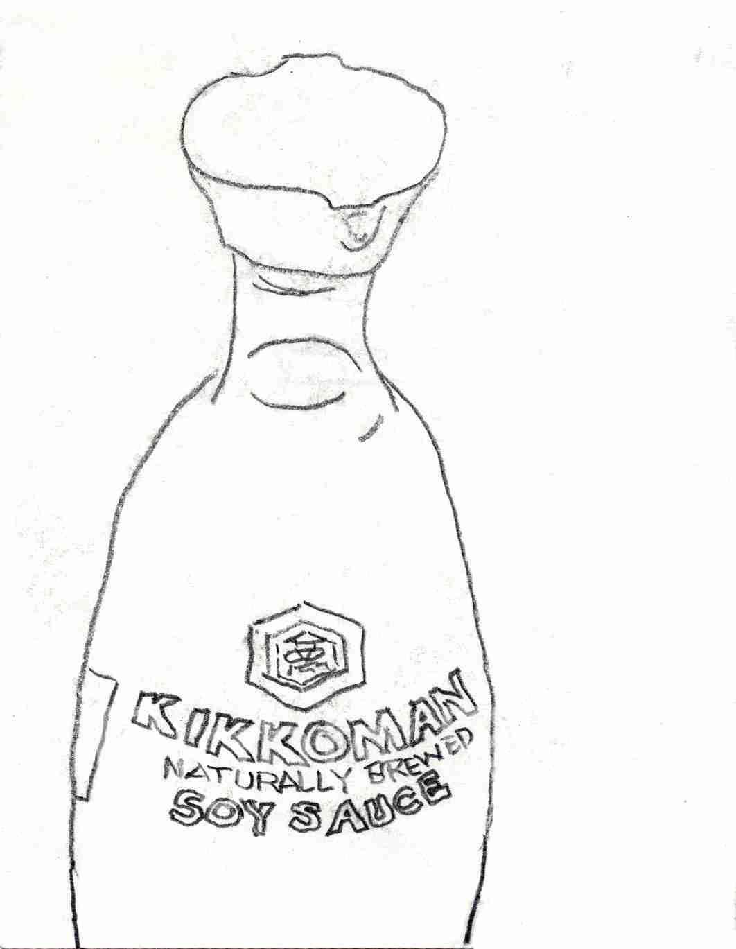 Kikkoman bottle contour line drawing