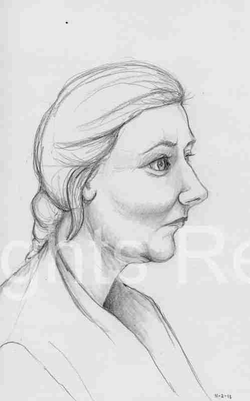 Woman in profile (mug shot)