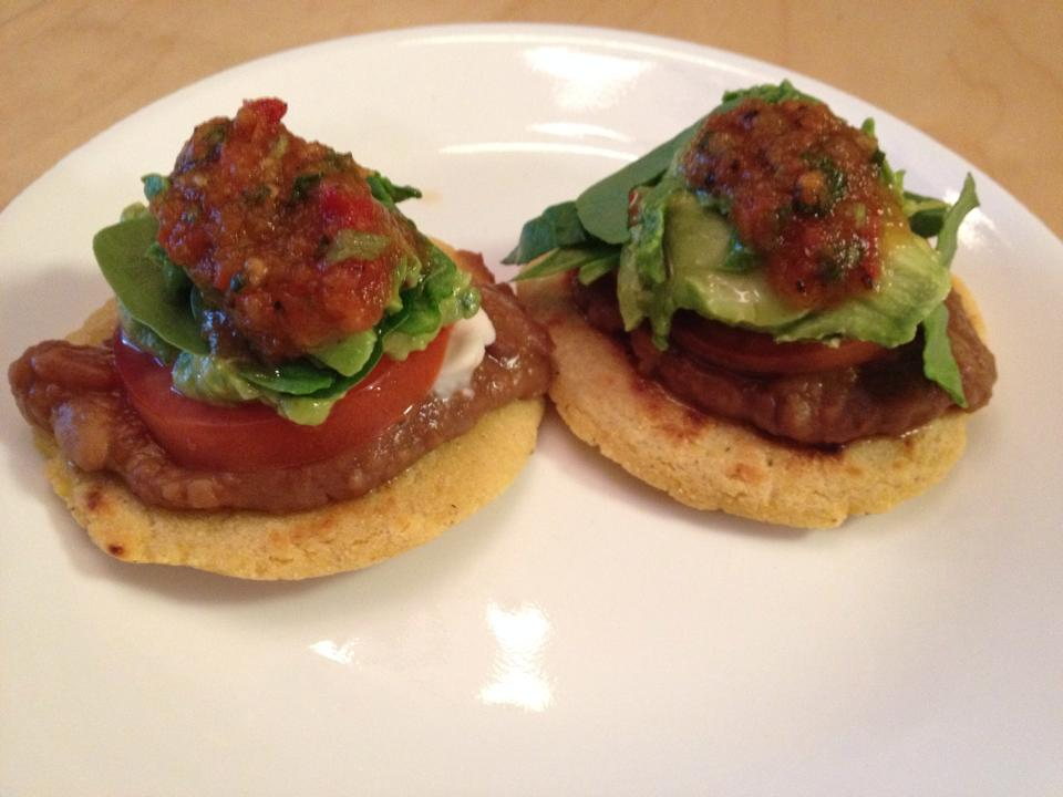 Gorditas plated with toppings
