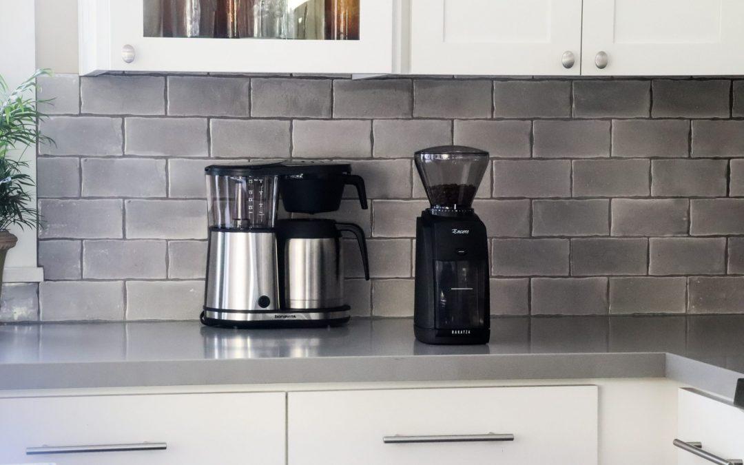 Kitchen counter showing a Bonavita Coffee Maker and a Baratza Encore Coffee Grinder